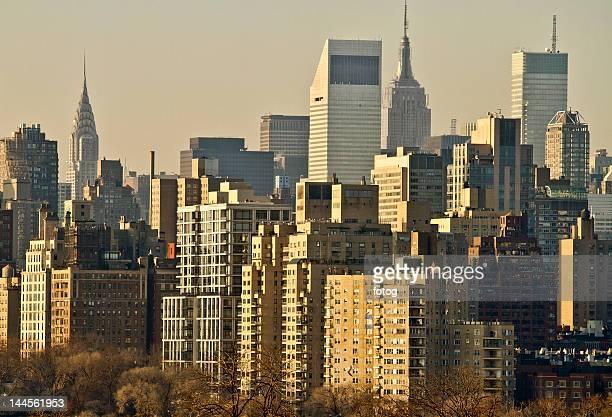 USA, New York, New York City, Manhattan, Skyline at dawn