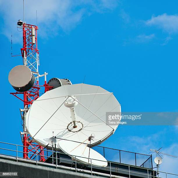 USA, New York, New York City, microwave tower with satellite dish
