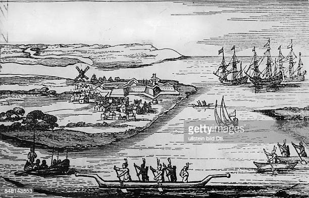 USA New York New York City Oldest view of New Amsterdam capital of the Dutch colony Nieuw Nederland Fort Amsterdam on the southern tip of Manhattan...