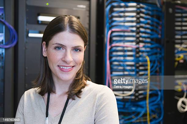 USA, New York, New York City, Portrait of female IT support technician