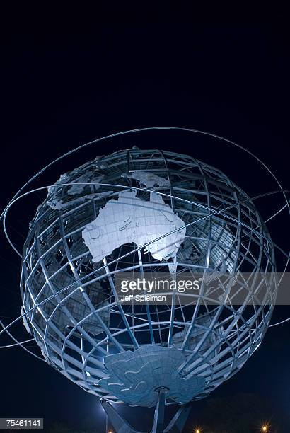 usa, new york, new york city, queens, flushing meadows corona park, the unisphere at night, low angle view - ユニスフェア ストックフォトと画像