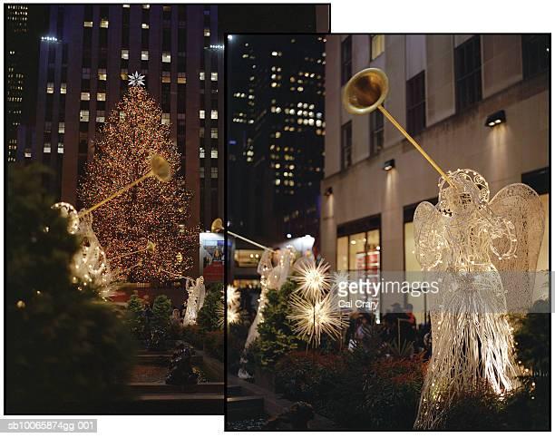 usa, new york, new york city, rockefeller centre in christmas decorations - sapin de noël du rockfeller center photos et images de collection