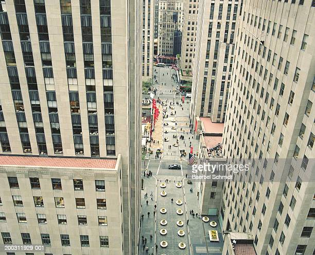 USA, New York, New York City, Rockefeller Plaza, elevated view