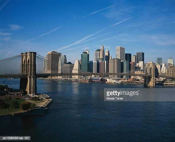 USA, New York, New York City, Skyline and bridge