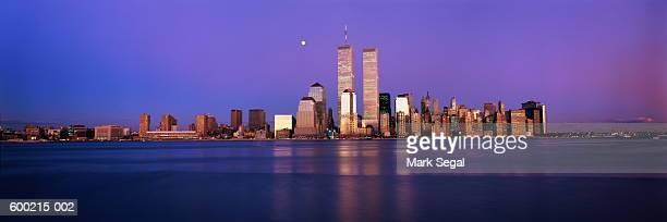 usa, new york, new york city, skyline at night - twin towers manhattan stock photos and pictures