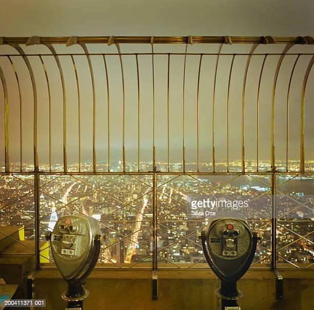 USA, New York, New York City skyline, night, elevated view