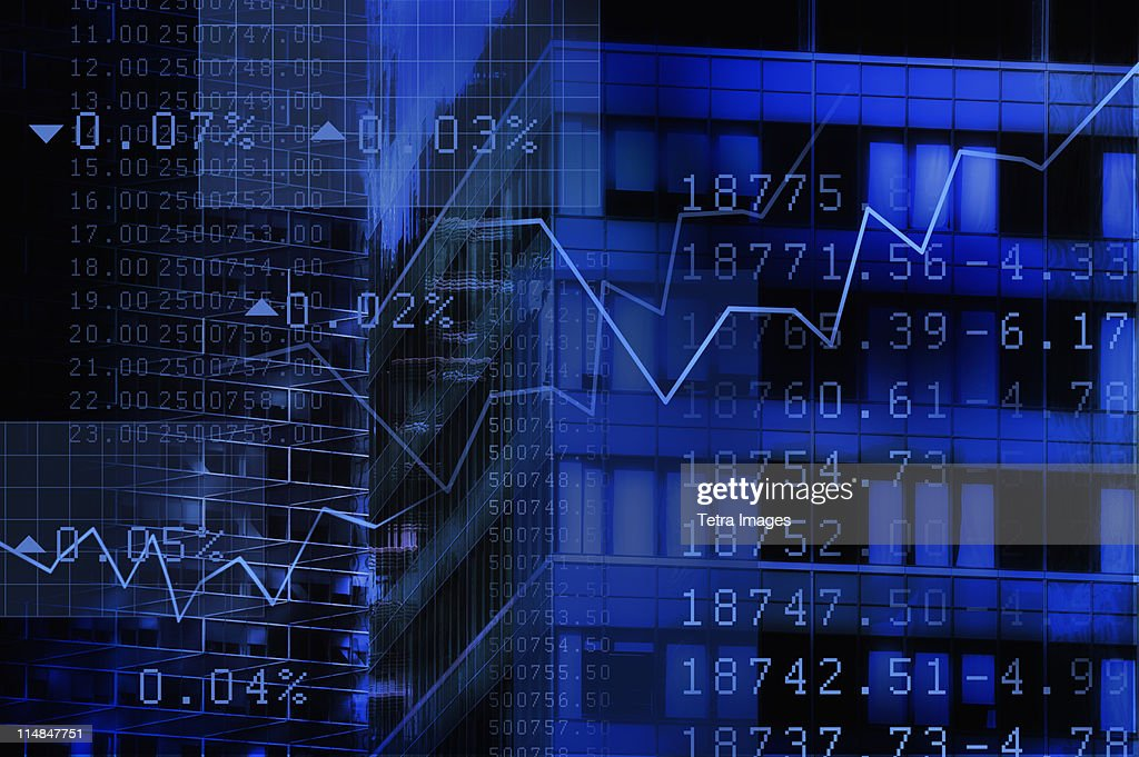 USA, New York, New York City, stock quotes reflecting on window : Stock Photo