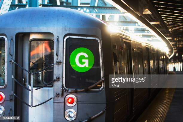 usa, new york, new york city, subway train at station - subway train stock pictures, royalty-free photos & images