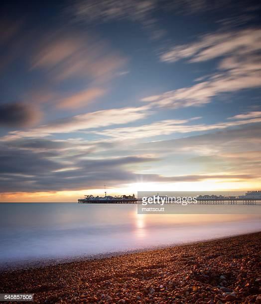 USA, New York, New York City, View of Brighton Beach during sunset