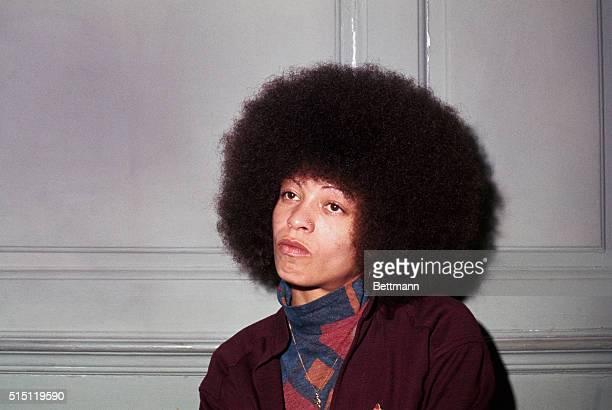Close up of Angela Davis black leftist activist during press conference