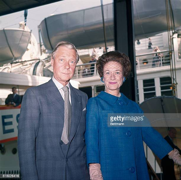 New York, New York: Duke and Duchess of Windsor aboard SS United States, silver wedding anniversary.