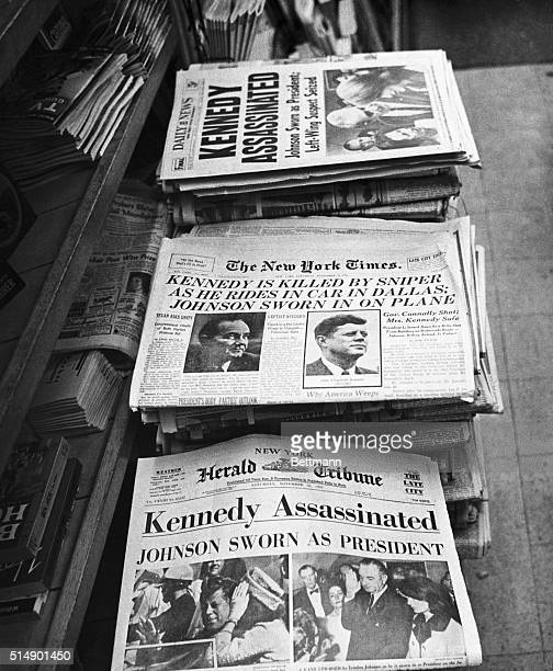 Headlines announcing Kennedy's assassination from three New York newspapers the Times the Daily News and the Herald Tribune November 23 1963