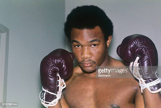 New York, New York: Heavyweight fighter George Foreman strikes a fighting pose prior to his January 16th 10-round bout with Chuck Wepner. Foreman won...