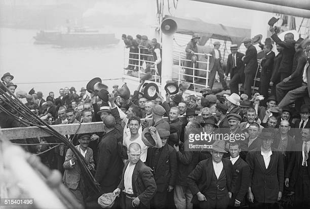 In order to be included in the restricted quota thousands of emigrants on ships which had laid outside New York Harbor for some days made a race up...