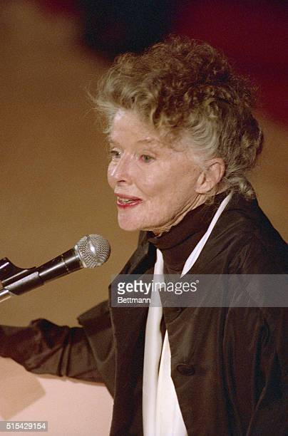 Katharine Hepburn smiles for the crowd after the dual tribute to herself and her mother the late Katharine Houghton Hepburn by the Planned Parenthood...