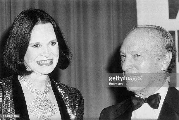 Leonard H Goldenson Chairman and Chief Executive Officer of American Broadcasting Companies Inc and Gloria Vanderbilt at the First Annual Volunteer...