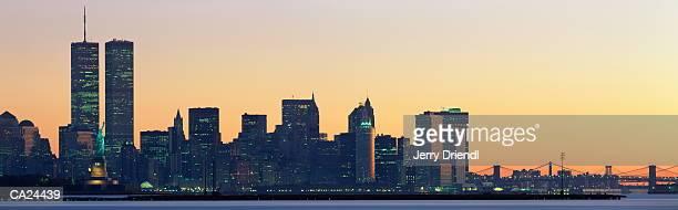 usa, new york, new york, lower manhattan skyline, dawn - twin towers manhattan stock photos and pictures