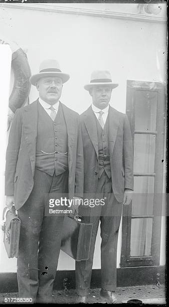 Photo shows Sir Arthur Balfour and his son Francis H Balfour as they arrived here from abroad