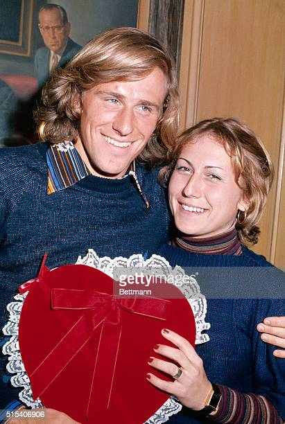 New York, New York: Tennis star Bjorn Borg with his fiancee Mariana Simionescu holding a giant Valentine presented to them by the...