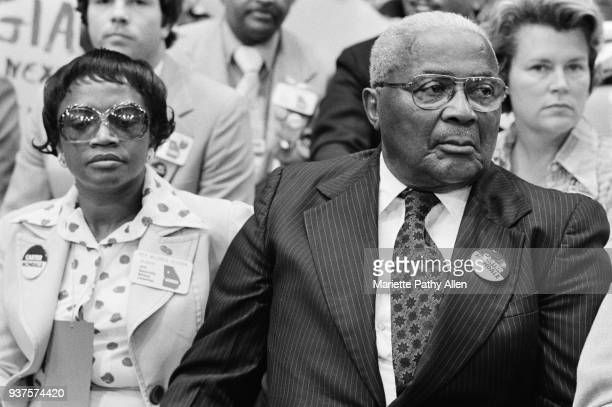 New York New York USA July 12 to July 15 1976 Georgia State Representative Mildred Glover and Rev Dr Martin Luther King Sr sit in the crowd of...