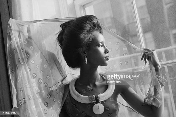 New York's newest face model Iman 20yearold 5/10 regally striking Somali tribeswoman launches her modeling career here during press conference 10/15...