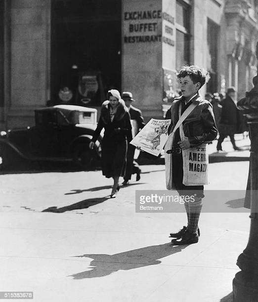 Newsboy of the 1920's selling Saturday Evening Post Undated photograph