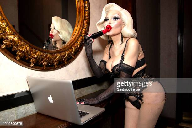 New York night life icon Amanda Lepore poses for photos while hosting Susanne Bartsch's 'ONTOP' ONLINE via ZOOM on April 16 2020 in New York City