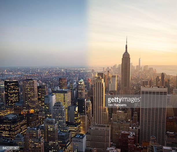 New York night to day.