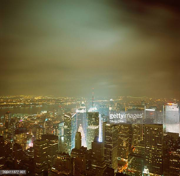 USA, New York, northern New York City skyline and Hudson River, night