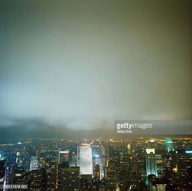 USA, New York, northern New York City skyline, night