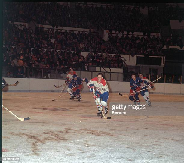 Action of Yvan Cournoyer of the Montreal Canadians during game with the NY Rangers