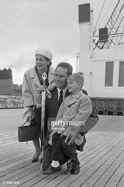 New York, NY- Actor Charleton Heston and his wife Lydia and their son Fraser arrive here May 2nd, on the liner Queen Mary. The Hestons arrived here...