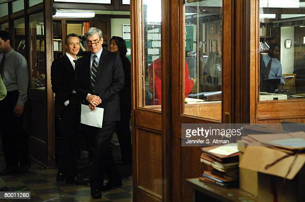 Actors Sam Waterson and Linus Roache are photographed on the set of Law and Order at Chelsea Piers