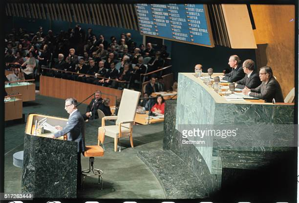 Addressing the UN General Assembly here Chilean President Salvador Allende accuses US corporations of seeking to forment Chilean civil war and...