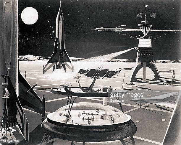3/8/1955 New York NY America's big commercial airports may look like this in 1985 based on predictions of leading aeronautical and astronomy...