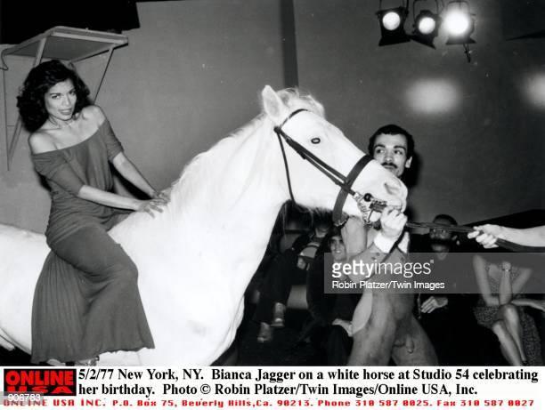New York NY Bianca Jagger on a white horse at Studio 54 celebrating her birthday
