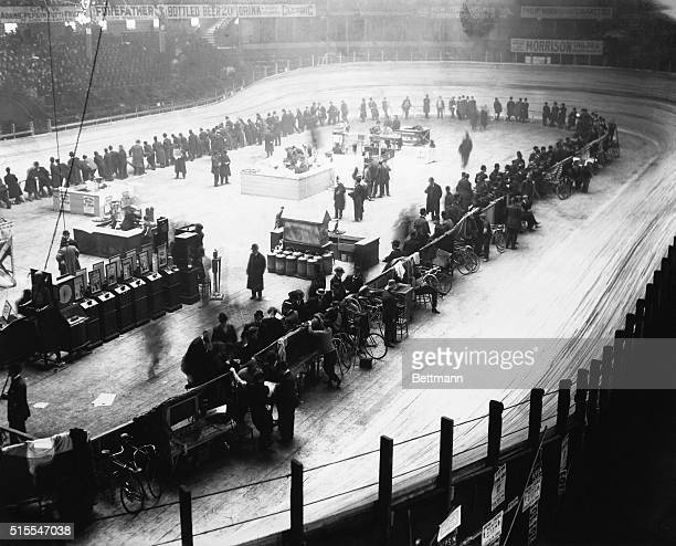 Bicycle race in Madison Square Garden Note nickleodeon setup at left Undated photograph circa 1895 BPA2# 5158