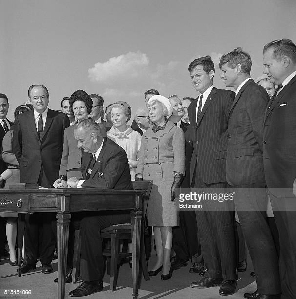 10/4/1965 New York NY Bright skies was the setting as United States President Lyndon B Johnson signed the new liberalized US Immigration bill into...