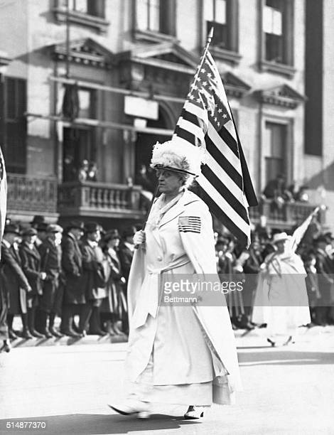 Carrie chapman Catt Suffragette taking part in New York parade Undated Photo
