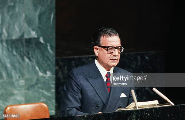 New York NY Chile President Salvador Allende speaks before the UN General Assembly
