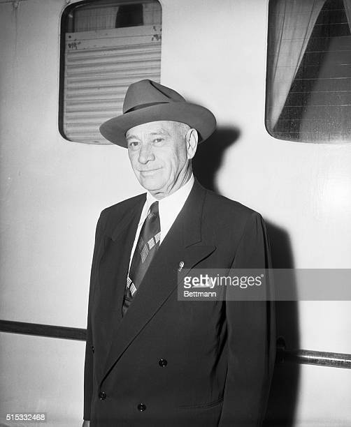 New York NY Closeup of Conrad Hilton Sr President of the Hilton Hotel Company as he returns from a business trip in Europe aboardthe SS America of...