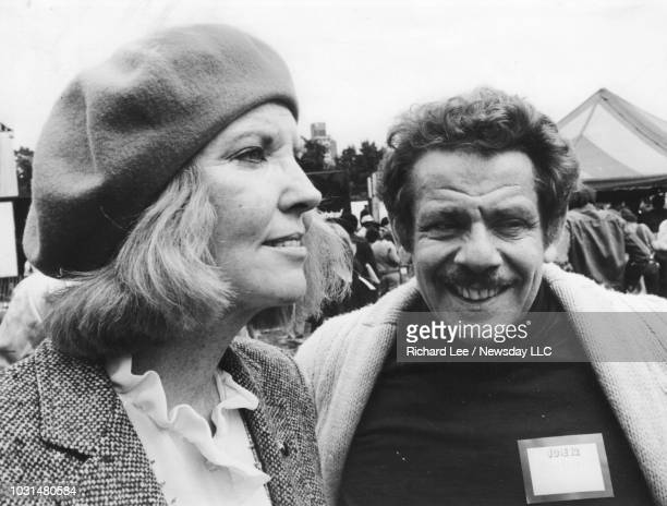 Comedians Anne Meara and her husband Jerry Stiller attend the World Peace March in Manhattan on June 12 1982