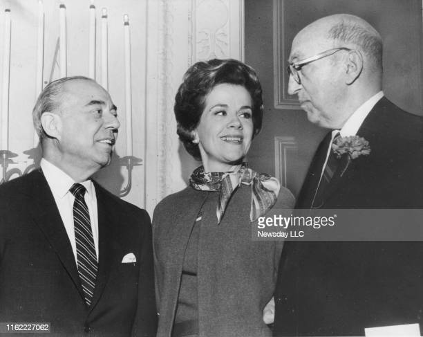 Composer Richard Rodgers , mezzo soprano Helen Vanni and musicologist Sigmund Spaeth talk during a luncheon at the Plaza Hotel in New York City on...