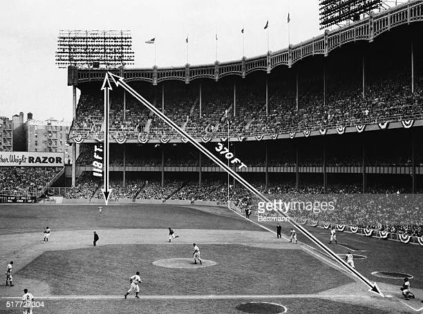 New York, NY: Converging arrows show the spot where a prodigious home run blasted by Mickey Mantle landed, during the first game of the...