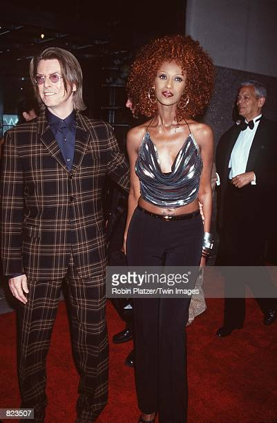 New York NY David Bowie and Iman at Saturday Night Live's 25 anniversary special