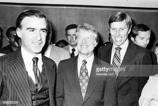 Democratic Presidential Candidate Jimmy Carter with California Gov Jerry Brown and Senator Gene Tunney as they leave Brown's room at the New York...