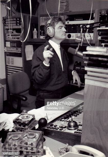 Disc jockey Scott Shannon on his first day back on the air at radio station WPLJ's offices at 2 Penn Plaza in Manhattan on April 11 1991
