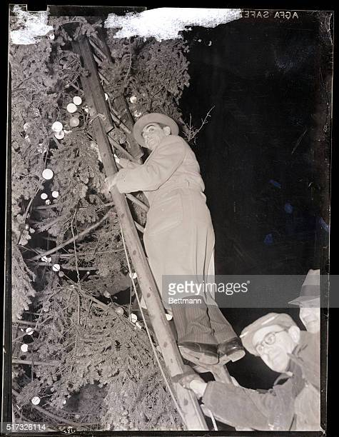 New York NY Eddie Cantor noted comedian pictured on a ladder as he helped light the mammoth Christmas tree in Times Square as part of the Christmas...