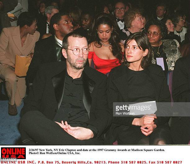 New York Ny Eric Clapton and date at the 1997 Grammy Awards at Madison Square Garden
