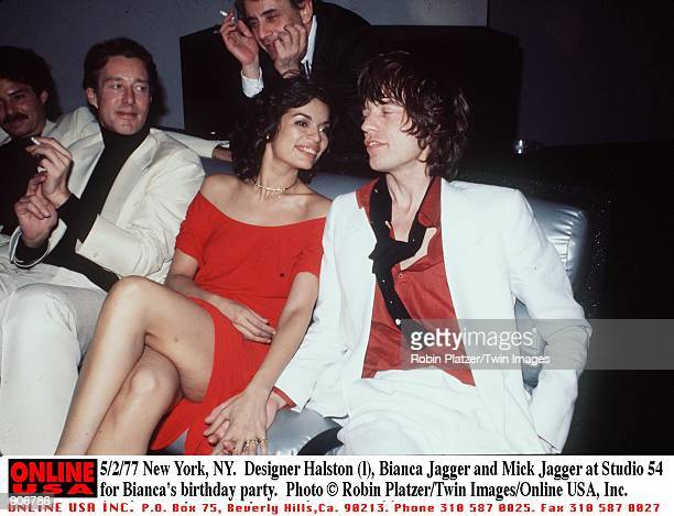 New York NY Fashion designer Halston with Bianca Mick Jagger at Studio 54 for Bianca's birthday party